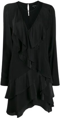 Barbara Bui Ruffled Mesh Silk Dress