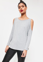 Missguided Cold Shoulder Tunic Top Grey