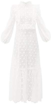 Zimmermann Goldie Embroidered Floral-print Midi Dress - Womens - White
