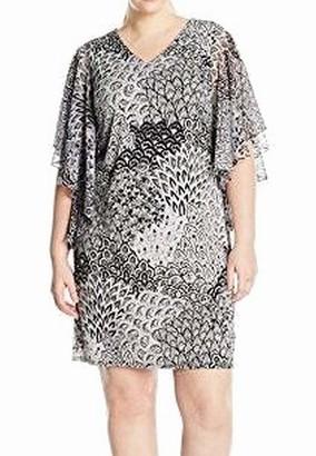 MSK Women's Plus-Size Flutter Sleeve Woven Printed Dress