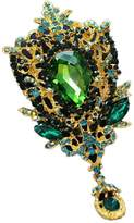 YAZILIND Delicate Bride Wedding Crystal Lily Flower Alloy Exaggerated Bridal Brooch Corsage Women Girls Accessories(Green)
