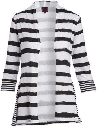Colour Works by In Cashmere Women's Cardigans BLACK - Black & White Stripe Cardigan - Women