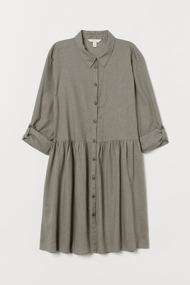H&M Linen-blend Shirt Dress - Green