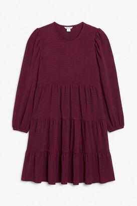 Monki Midi dress with tiered skirt