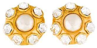 Chanel Pearl & Crystal Clip-On Earrings