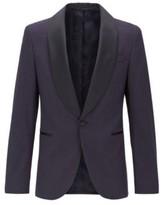 HUGO BOSS - Slim Fit Patterned Jacket With Shawl Lapels In Silk - Dark Blue
