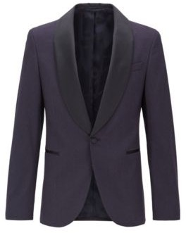 HUGO BOSS Slim Fit Patterned Jacket With Shawl Lapels In Silk - Dark Blue