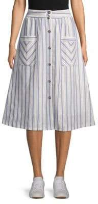 Lumie Striped Cotton A-Line Skirt