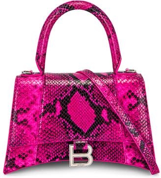 Balenciaga Small Hourglass Top Handle Bag in Fuchsia & Black | FWRD