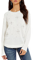Miss Me Studded Christmas Snowflake Long-Sleeve Pullover Top