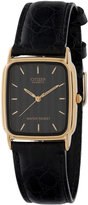 American Apparel Citizen Striped Rectangular Leather Band Watch