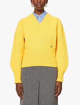 Victoria Beckham Logo-embroidered wool-blend jumper