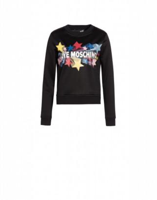 Love Moschino Glitter Stars Shiny Sweatshirt Woman Black Size 38 It - (4 Us)