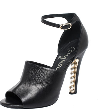 Chanel Black Leather Pearl Embellished Heel Ankle Strap Sandals Size 37.5