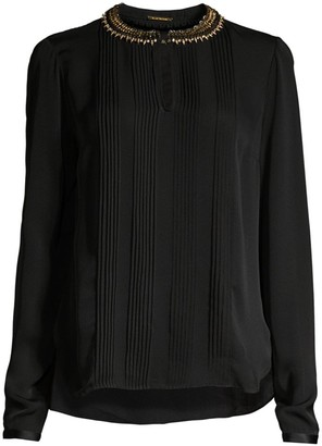 Elie Tahari Sima Studded Collar Pintucked Silk Blouse