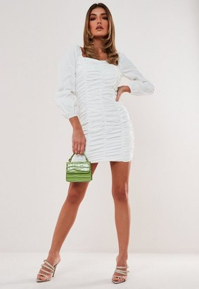 Missguided Petite White Poplin Square Neck Mini Dress