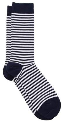 Sunspel Striped Cotton Blend Socks - Mens - White Multi