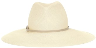 Agnona Leather-trimmed straw hat