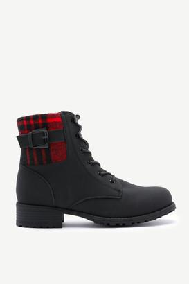 Ardene Plaid Cuff Combat Boots