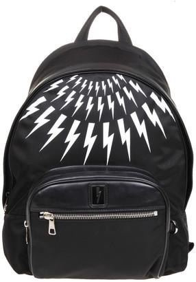 Neil Barrett Neil Barret Fair-isla Thunderbolt Backpack In Black Nylon
