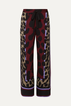 Diane von Furstenberg Nik Printed Silk-blend Satin Wide-leg Pants - Red