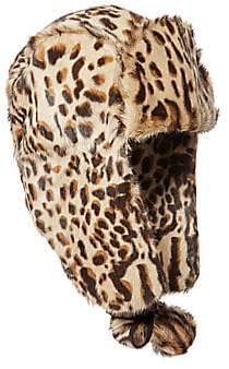 Eric Javits Women's Meow Leopard-Print Goat Fur Trapper Hat