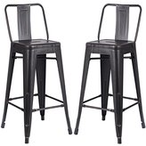"""AC Pacific Modern Light Weight Industrial Metal Bucket Back Barstool, 30"""" Seat Height Counter Stool (Set of 2), Distressed Black Finish"""