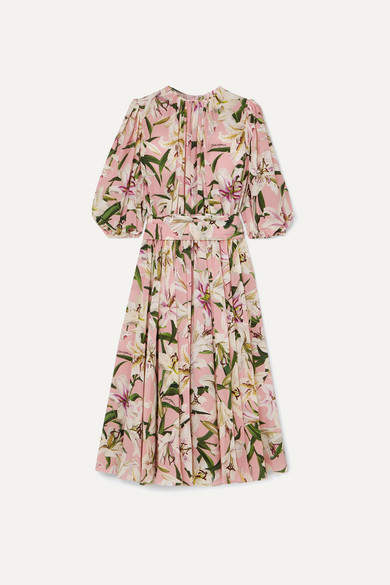 Dolce & Gabbana Belted Floral-print Silk-georgette Midi Dress - Pink