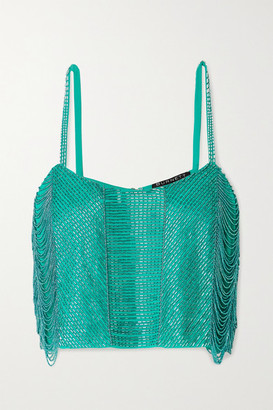 BURNETT NEW YORK Cropped Beaded Georgette Camisole - Jade
