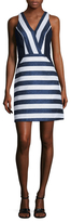 Shoshanna Cotton Metallic Stripe Fit And Flare Dress