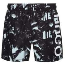 Quick-dry printed swim shorts with reversed logo