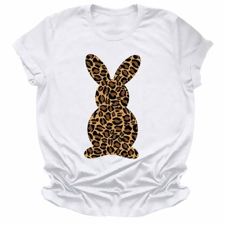 Beetlenew Womens Blouses Easter Day Clothing Womens Graphic T-Shirt Cute Leopard Rabbit Print Tee Shirts Tops Bunny Hare Pattern Casual Short Sleeve Pullover Tunic Blouse Hip-Hop Going Out Clothing Plus Size White