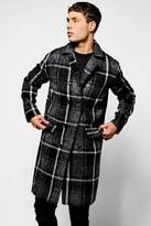 boohoo Longline Brushed Check Overcoat