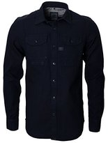 G Star Men's Wolker Straight Long Sleeve Button-Up Shirt In Indigo Herringbone Dip and Dry