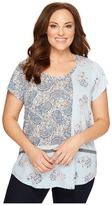 Lucky Brand Plus Size Paisley Mixed Tee Women's T Shirt
