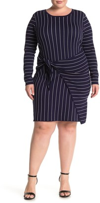 City Chic Bow Wrap Striped Sweater Dress (Plus Size)
