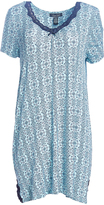 Rene Rofe Blue Geo Floral Lace-Trim Moonlight Kiss Nightgown