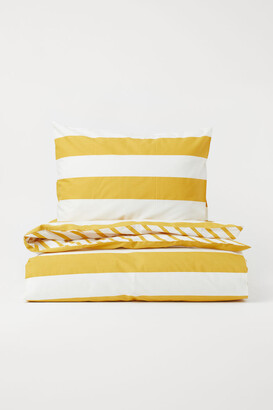 H&M Striped Duvet Cover Set - Yellow