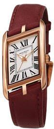 Bruno Magli Sofia Asymmetric Watch w/ Leather Strap, Burgundy/Rose