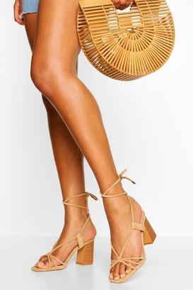 boohoo Wrap Up Strap Block Heel Sandals