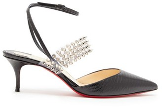 Christian Louboutin Levita 55 Studded Lizard-effect Leather Pumps - Black
