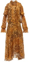 Preen by Thornton Bregazzi Jocelyn Snake-print Ruffled Devore Midi Dress - Womens - Yellow Print