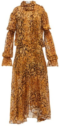 Preen by Thornton Bregazzi Jocelyn Snake-print Ruffled Devore Midi Dress - Womens - Yellow Print