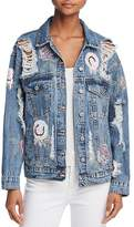 Sunset & Spring Distressed & Destroyed Sequin-Appliqué Denim Jacket