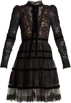 Elie Saab Velvet-trimmed lace dress