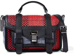 Proenza Schouler Ps1+ Tiny Raffia, Leather And Coated Canvas Shoulder Bag