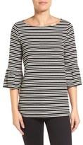 Pleione Stripe Knit Bell Sleeve Top