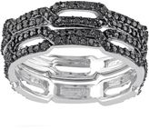 Black Diamond 1/8 Carat T.W. Sterling Silver Chain Link Ring Set