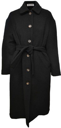 Theavant Black City Wool Trench Coat