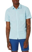 Topman Men's Classic Fit Stripe Cotton & Linen Shirt